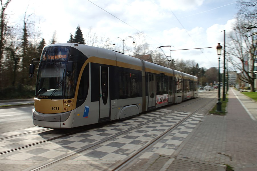 A tram line no. 94 in the southern part of Brussels, Belgium