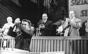 Communist Party of Great Britain - William Alexander, representing to Politburo of the CPGB receives applause from the Presidium of the Fifth Congress of the Socialist Unity Party of Germany, East Berlin, 16 July 1958.