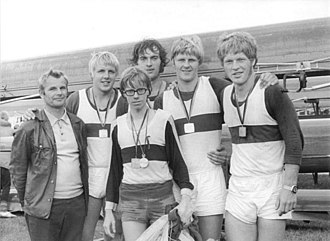 Siegfried Brietzke - After the national championship in Berlin 1974 from the left: Coach Jörg Weissig, Siegfried Brietzke, Andreas Decker, Stefan Semmler, Wolfgang Mager, and in the front coxwain Werner Lehmann