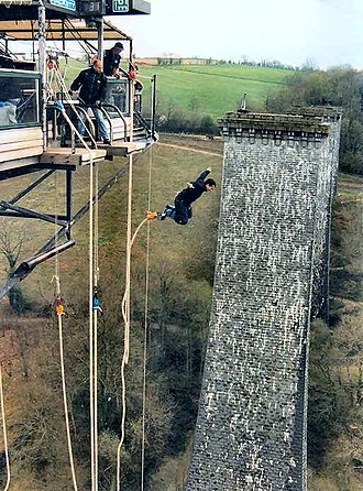 Bungee jumping - Bungee Jump in Normandy, France (Souleuvre Viaduct)