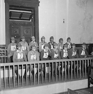 Kalagong massacre - Japanese prisoners in the dock during the first war crimes trial to be held in Rangoon, Burma. These men were charged with the murder of 637 civilians in the village of Kalagon.