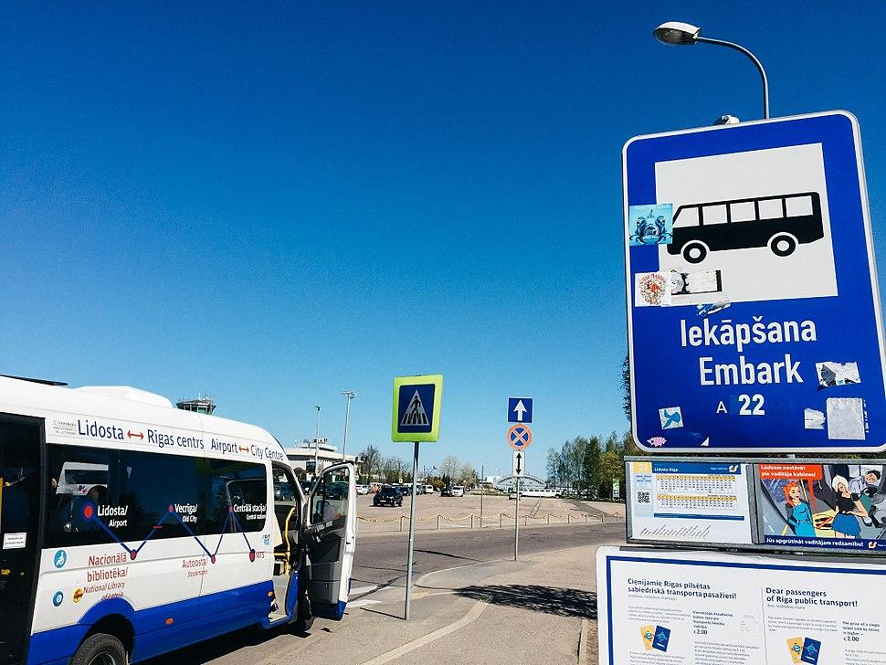 Bus stop at Riga Airport
