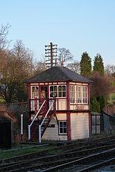 Butterley railway station, Derbyshire, England -signal box-19Jan2014 (4).jpg