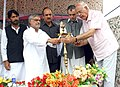 C.P. Joshi lighting the lamp at the foundation stone laying ceremony of 8.45 Km. long tunnel between Quazigund and Banihal on Jammu-Srinagar National Highway.jpg