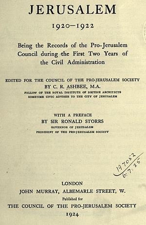 Charles Robert Ashbee - Title page to Jerusalem 1920–1922, London, 1924