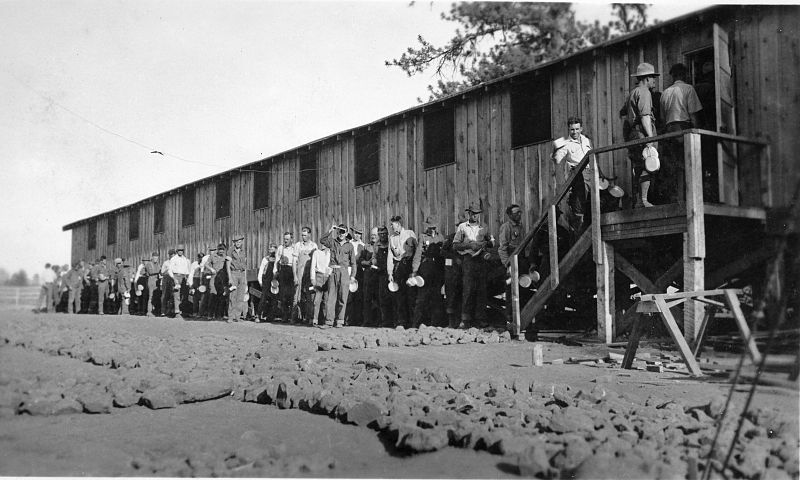 File:CCC members lined up to go inside barracks (3226044943).jpg