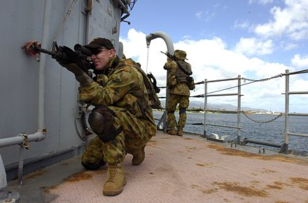 Clearance Divers during a ship boarding exercise in 2006 as a part of RIMPAC exercises. CDT-1.jpg