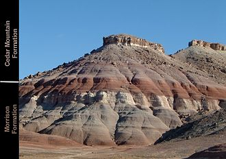 Cedar Mountain Formation - The drab-colored lower portion of the Cedar Mountain Formation, overlying the brighter Morrison Formation.