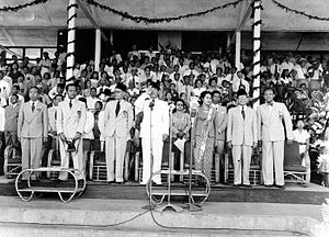 National Sports Week (Indonesia) - President Sukarno and Vice President Mohammad Hatta at the 1951 PON opening ceremony in Jakarta