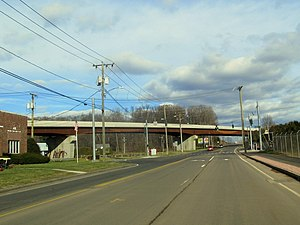 CTfastrak - A lengthy bridge carries the busway over East Street (pictured) and Allen Street in New Britain