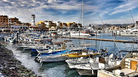 A sizeable marina dominates the port of Cabo San Lucas Cabo marina faro.jpeg