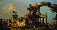 Canaletto - Capriccio of Roman Ruins with a Church and the Colleoni Monument.jpg