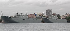 Canberra-class landing helicopter dock ships (30676205621).jpg