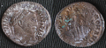 Carbonate crystals formed on ancient bronze coin.png
