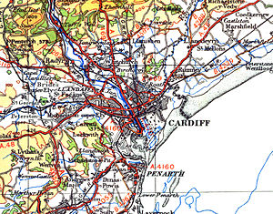 Monmouthshire (historic) - 1946 OS map showing Monmouthshire/Glamorgan and England/Wales border running along the Rhymney River