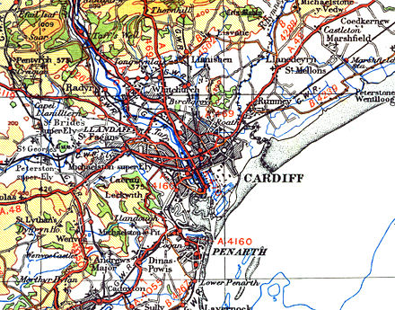 1946 OS map showing Monmouthshire/Glamorgan and England/Wales border running along the Rhymney River Cardiffmap1946.jpg