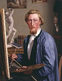 The portrait of a bearded man sitting before an easel, holding a colour palette and brushes.