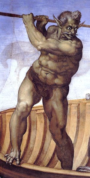 Charon (mythology) - Charon as depicted by Michelangelo in his fresco The Last Judgment in the Sistine Chapel