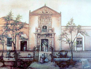 Mérida, Yucatán - House of Montejo in a 19th-century lithograph