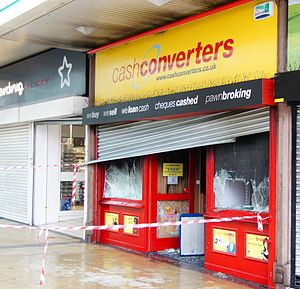 Salford Shopping Centre - Damage to Cash Converters after the Salford riots, 10 August 2011.