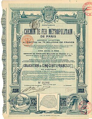 Compagnie du chemin de fer métropolitain de Paris - Obligation of the CdF Metropolitain de Paris S.A. from the 25. June 1906