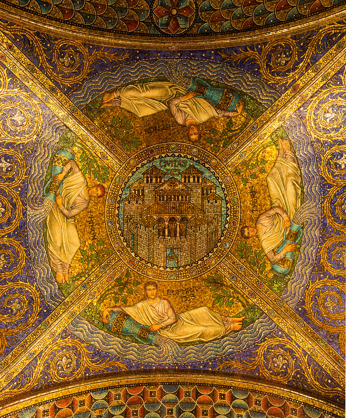 Ceiling Civitas Dei, Entrance of the Cathedral, Aachen, Germany.jpg