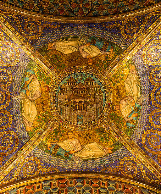 Ceiling Civitas Dei, Entrance of the Cathedral, Aachen, Germany