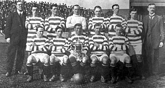 Patsy Gallacher - 1914 Celtic team photo with the Scottish Cup; Gallacher bottom row, second left