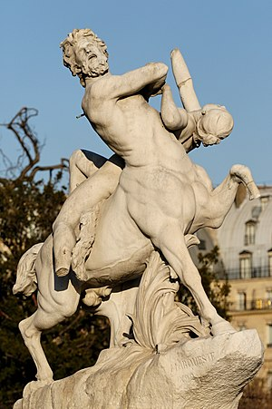 Laurent Marqueste - Nessus, 1892  (Tuileries Gardens, Paris). As can be seen in comparison with the statue in 1911, missing pieces are the arrow in Nessus and a foot and hand of Déjanire