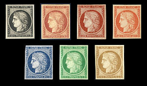 Carré Marigny - The Ceres issue, among the first French postage stamps, issued in 1849 and 1850