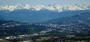 Chambéry - Panorama of Chambéry with Belledonne mountain range at the background.
