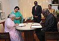 Chandresh Kumari Katoch and the Minister of Culture of the Republic of Senegal, Mr. Adboul Aziz Mbaye signing the Executive Programme for Cultural Cooperation between India and Senegal for the year 2013-2015, in New Delhi.jpg