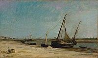 Bateaux sur la côte à étaples 1871 huile sur panneau 34 3 x 58