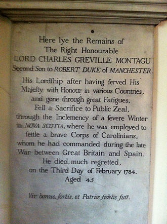 Province of South Carolina - Lord Charles Montagu, St. Paul's Church (Halifax), Nova Scotia