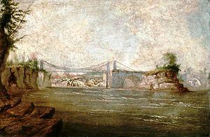 Die Chaudière-Hängebrücke von Ottawa nach Hull, 1845