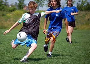 Gaelic football - Children participating in a game of Gaelic football