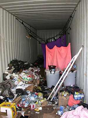 Stowaway - A shipping container in which 22 stowaways were captured in the Port of Seattle
