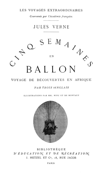 Five Weeks in a Balloon - Title page of a Hetzel edition