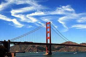 Cirrus clouds over Golden Gate Bridge