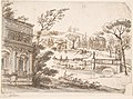 Classical Landscape with Temples (recto); Indecipherable sketch, possibly of a seated figure (verso) MET DP800718.jpg
