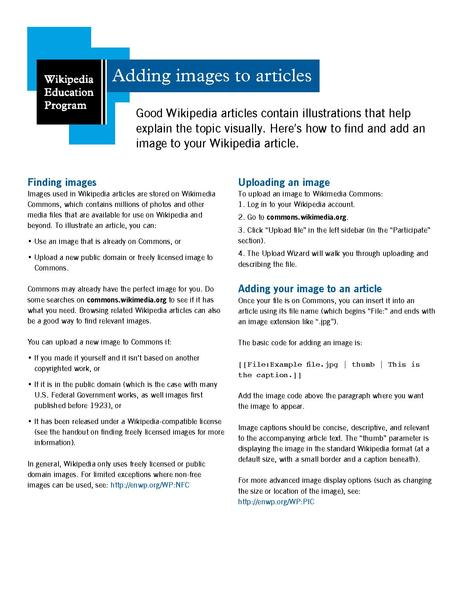 File:Classroom handout - Adding images to articles.pdf
