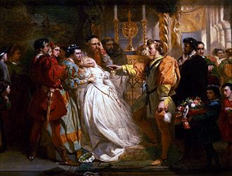 """Marcus Stone - """"Claudio, deceived by Don John, accuses Hero"""" -- scene from Much Ado About Nothing, painted by Marcus Stone"""