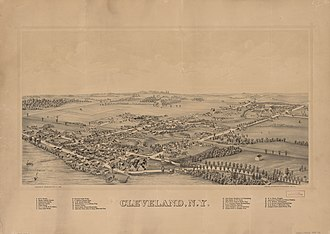 Cleveland, New York - Perspective map of Cleveland and list of landmarks from 1890 published by L.R Burleigh
