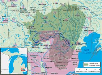 Clinton River (Michigan) - Image: Clinton River Michigan map