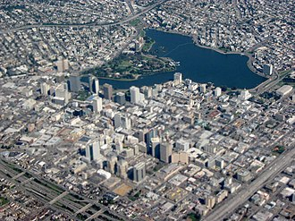 Downtown Oakland - Aerial view of Downtown Oakland and Lake Merritt