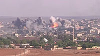 Coalition Airstrike on ISIL position in Kobane.jpg