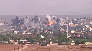 Siege of Kobanî - Coalition airstrike in Kobanî on Islamic State position, October 2014