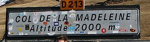 Col de la Madeleine -  Sign at the summit