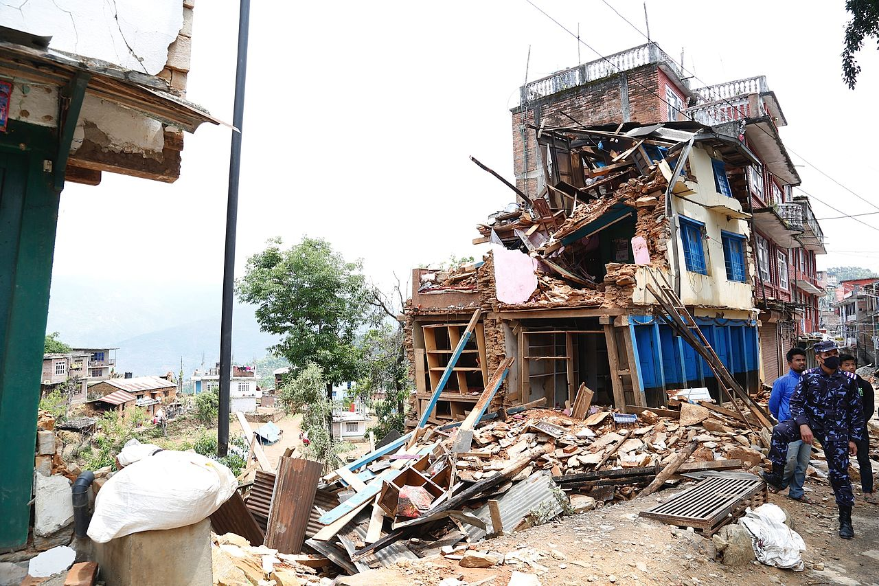 File Collapsed Buildings In Earthquake Hit Chautara Nepal