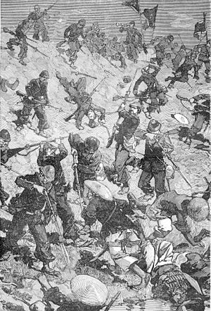 Battle of Palan - Taccoën's marine infantry company storms the dyke at Palan